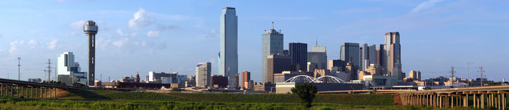 Horizonte panorámico de Dallas Tejas Imagen de archivo