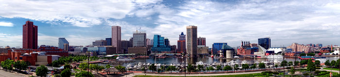 Horizonte panorámico del puerto interno de Baltimore Maryland Imagen de archivo libre de regalías