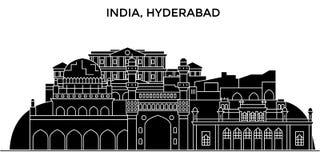 Horizonte urbano de la arquitectura de la India, Hyderabad con las señales libre illustration