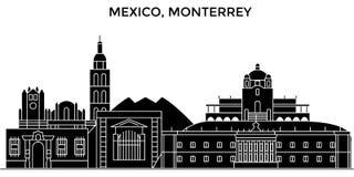 Horizonte urbano de la arquitectura de México, Monterrey stock de ilustración