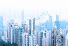 Horizonte urbano moderno Comunicaciones globales y establecimiento de una red Gráfico de la bolsa ilustración del vector