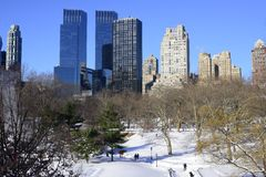 Horizonte y Central Park de New York City en invierno Fotos de archivo