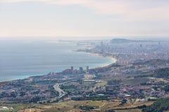 Horizonte y costa de Barcelona Imagen de archivo