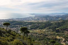 Horizonte y costa de Barcelona Foto de archivo libre de regalías