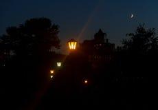 Horizonte y luces de la noche Fotos de archivo