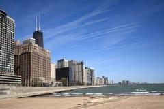 Horizonte y playa de Chicago Imagenes de archivo