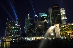 Horizonte y río de Singapur Foto de archivo