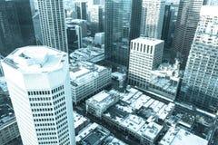 Horizonte y señales de la ciudad de Calgary desde arriba fotografía de archivo