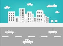 Horizonte y tráfico de la ciudad Fotos de archivo