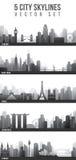 Horizontes de la ciudad fijados Fotos de archivo