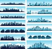 Horizontes de la ciudad panorámicos stock de ilustración