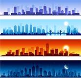 Horizontes de la ciudad panorámicos ilustración del vector