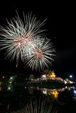 Horkumluang golden temple and big firework. In Chiang Mai Province Thailand Royalty Free Stock Image
