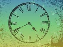Horloge à l'arrière-plan grunge Images stock