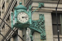 Horloge 2 de borne limite de Chicago Photos libres de droits