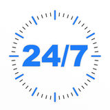 Horloge. 24/7 procurable. illustration stock