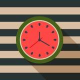 Horloge abstraite de pastèque Concept d'heure d'été Photographie stock libre de droits