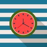 Horloge abstraite de pastèque Concept d'heure d'été Image stock