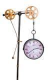 Horloge antique de vintage d'isolement sur le fond blanc avec des vitesses Images stock