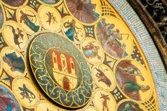 Horloge astronomique à Prague, République Tchèque Fermez-vous vers le haut de la photo photographie stock