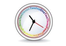 Horloge avec des mots colorés Photo libre de droits