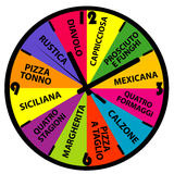 Horloge avec différents noms de pizza Photographie stock libre de droits