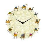 Horloge avec la conception de chameaux illustration stock