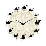 Horloge avec la conception de silhouette de chameaux illustration de vecteur