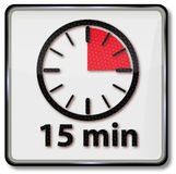 Horloge avec quinze minutes Photos stock