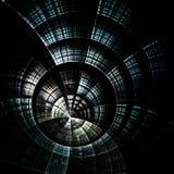 Horloge bleu-foncé de fractale, illustration numérique Photo stock