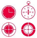 Horloge, boussole et but Images stock