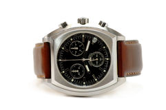 Horloge - bruin leer royalty-vrije stock foto