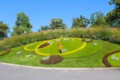 Horloge célèbre de fleur, Genève, Suisse Ce chef d'oeuvre de l'AR Photographie stock libre de droits