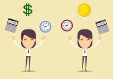 Horloge, calculatrice et argent de bureau Le temps, c'est de l'argent concept Illustration de vecteur Images libres de droits