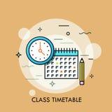 Horloge, calendrier et crayon Concept d'horaire de classe ou de programme, création personnelle de plan d'étude, planification de illustration de vecteur