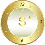 Horloge d'or Photographie stock