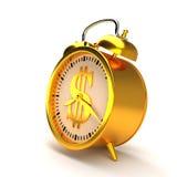 Horloge d'alarme d'or rendu 3d Photographie stock