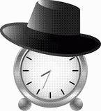 Horloge d'alarme dans le chapeau illustration stock
