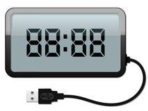 Horloge d'alarme de Digitals avec le câble d'USB illustration libre de droits
