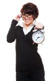 Horloge d'alarme de fixation de femme d'affaires Images libres de droits