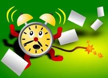 Horloge d'alarme effrayée par date-limite Photographie stock