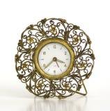 Horloge d'alarme en filigrane d'or de cru image stock