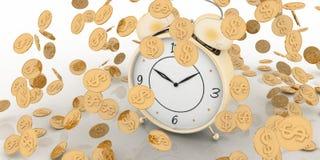 Horloge d'alarme et argent sur le blanc illustration libre de droits
