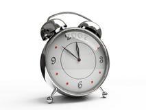 Horloge d'alarme métallique d'isolement sur le fond blanc Photo libre de droits