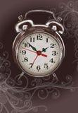 Horloge d'alarme - peinture de couleur et ornement floral Photographie stock