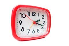 Horloge d'alarme rouge Photos stock