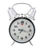 Horloge d'alarme traditionnelle (fond blanc) Photographie stock libre de droits