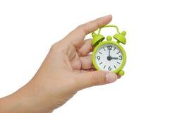 Horloge d'alarme verte Photo libre de droits
