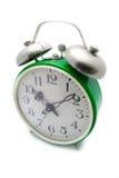 Horloge d'alarme verte Photographie stock libre de droits