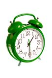 Horloge d'alarme verte d'isolement Images stock